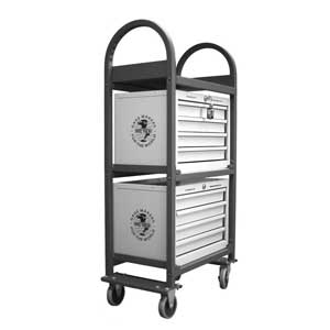 Save steps and save time with our rolling carts. These sturdy units carry (2) Meyer Gage Library Series storage cabinets, making for quick and easy access to any gage sets needed for anything from assembly work to low volume production runs.  Great accessory for your Meyer Gage Library.Made in Connecticut, USA Capacity to hold (2) Meyer four drawer cabinets Inspection shelf to hold production parts, hand micrometers or calipers Rated to hold over 350 pounds Swivel casters with brakes